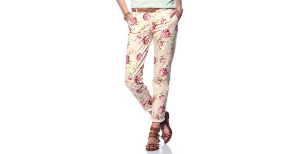 Dámske smotanové nohavice s kvetinami Jimmy Key