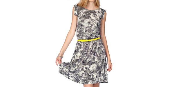 Dámske šedé kvetinové šaty s neonovým opaskom Jimmy Key