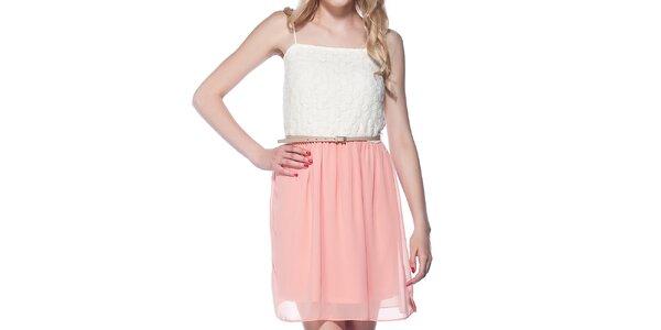 Dámske biele šaty s ružovou sukňou Jimmy Key