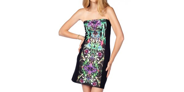 Dámske úzke čierne šaty so vzorom Jimmy Key