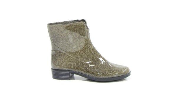 Dámske zlaté metalické kotníkové topánky Favolla