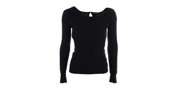 Dámske čierne tričko s mašličkou v páse Phard