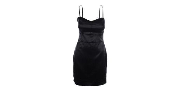 Dámske čierne šaty s tenkými ramienkami Phard