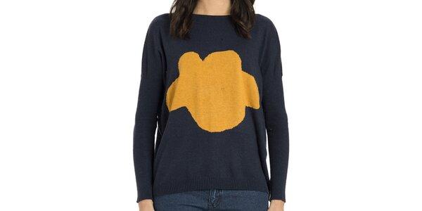 Dámsky modrý oversized sveter s oranžovým obláčkom Compania Fantastica