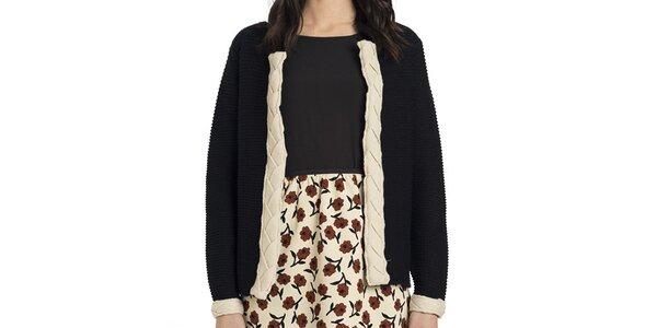 Dámsky čierny pletený svetrík s krémovými detailmi Compania Fantastica