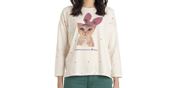 Dámska smotanová blúzka s mačičkou Compania Fantastica