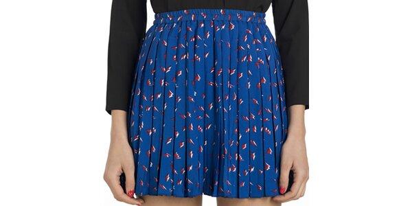 Dámska modrá vzorovaná plisovaná sukňa Compania Fantastica