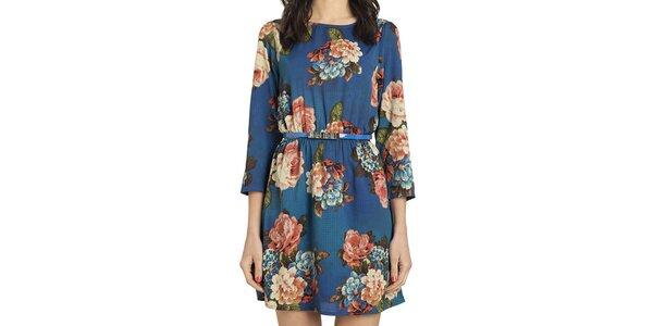 Dámske modré šaty s kvetmi Compania Fantastica