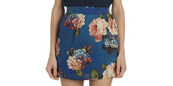 Dámska modrá sukňa s kvetmi Compania Fantastica