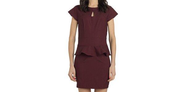 Dámske bordó šaty s volánom Compania Fantastica