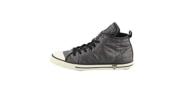 Dámske čierne prešívané členkové topánky Guess