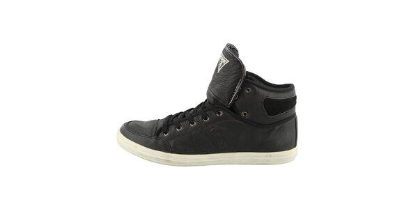 Pánske čierne členkové topánky s prešívaním Guess