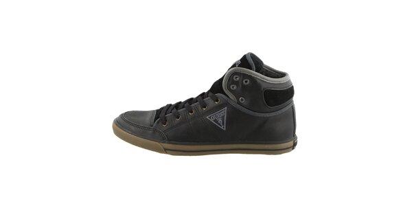 Pánske čierne šnurovacie topánky Guess