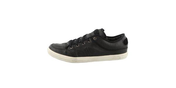 Pánske čierne kožené topánky Guess