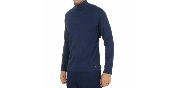 Pánske tmavo modré tričko so stojačikom Ralph Lauren