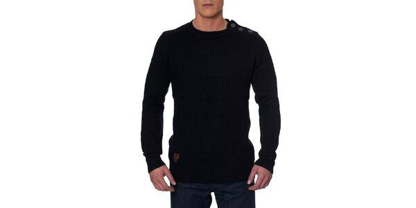 Pánsky čierny sveter s gombíkmi na ramene Paul Stragas