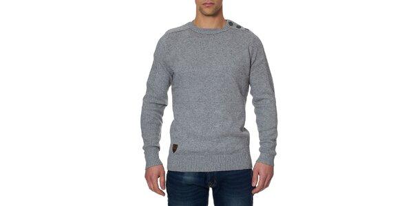 Pánsky šedý sveter s gombíkmi na ramene Paul Stragas