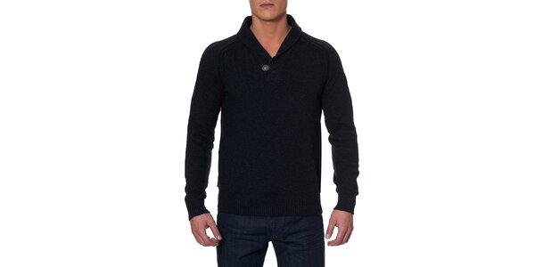 Pánsky antracitový sveter s gombíkom Paul Stragas