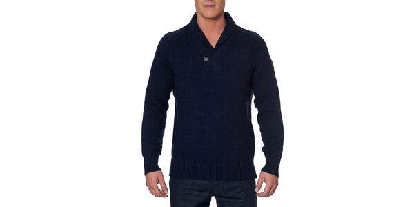 Pánsky tmavomodrý sveter s gombíkom Paul Stragas