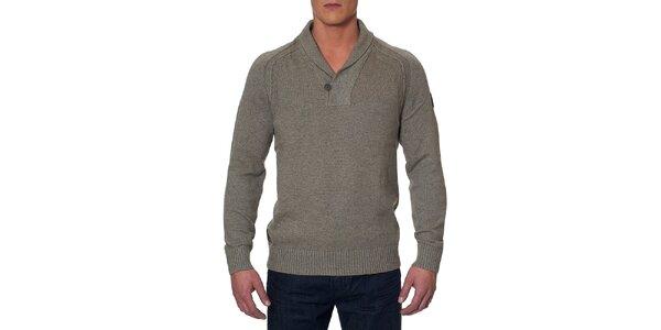 Pánsky šedohnedý sveter s gombíkom Paul Stragas