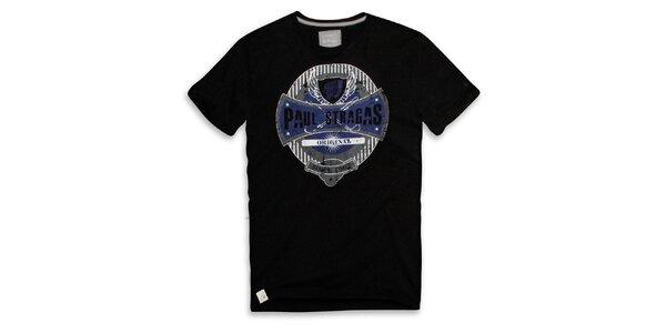 Pánske čierne bavlnené tričko s potlačou Paul Stragas