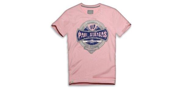 Pánske ružové bavlnené tričko s potlačou Paul Stragas