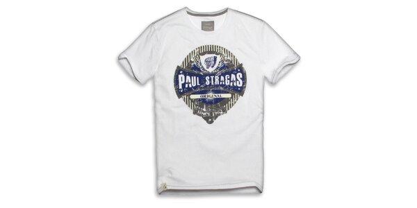 Pánske biele bavlnené tričko s potlačou Paul Stragas