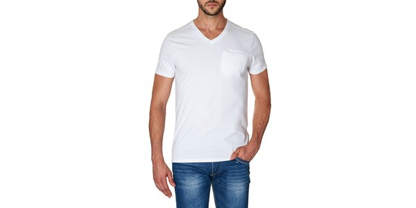 Pánske biele tričko s véčkovým výstrihom Paul Stragas