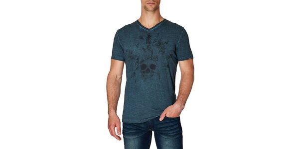 Pánske bavlnené tričko s potlačou lebky Paul Stragas