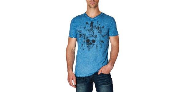 Pánske modré tričko s potlačou lebky Paul Stragas