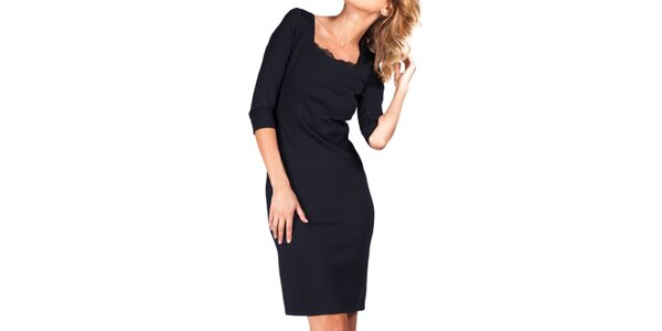 Dámske čierne šaty s čipkovým výstrihom Sixie