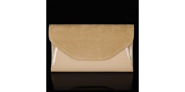 Dámska béžová listová kabelka Felice so semišovou klopou