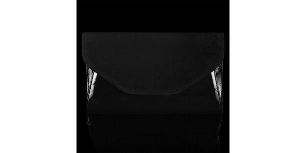 Dámska čierna listová kabelka Felice so semišovou klopou