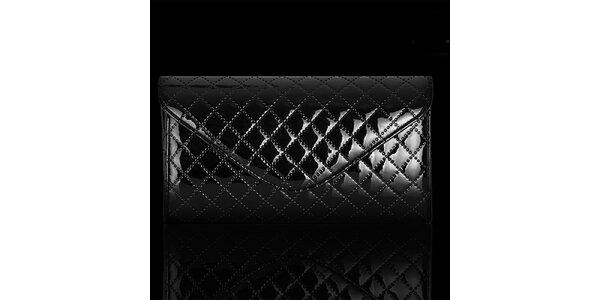 Dámska lesklá čierna vzorovaná listová kabelka Felice