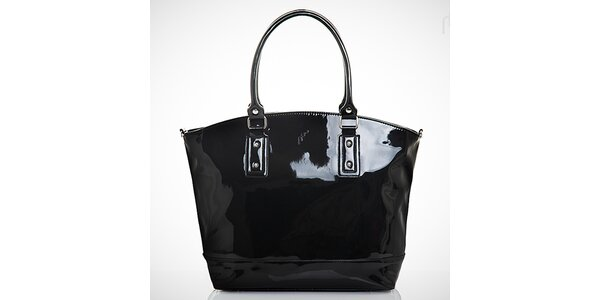 Dámska lakovaná čierna kabelka s vonkajším vreckom Felice