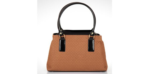 Dámska hnedá prešívaná kabelka s čiernymi detailmi Felice