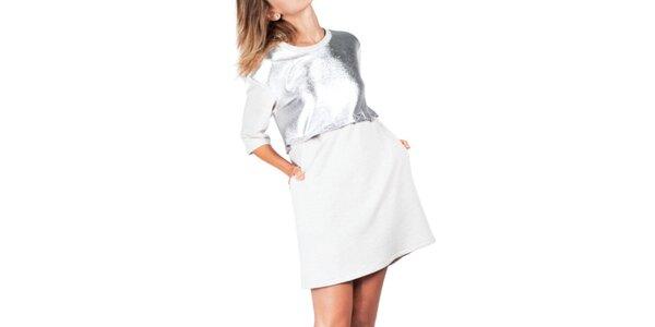 Dámske šedé šaty s odnímateľným horným dielom Sixie