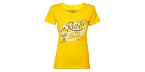 Dámske kanárikovo žlté tričko Timeout s potlačou