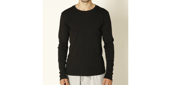 Pánske čierne tričko s dlhým rukávom Chaser