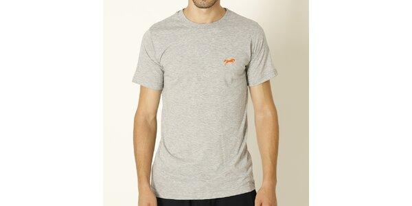 Pánske svetlo šedé tričko s oranžovým logom Chaser