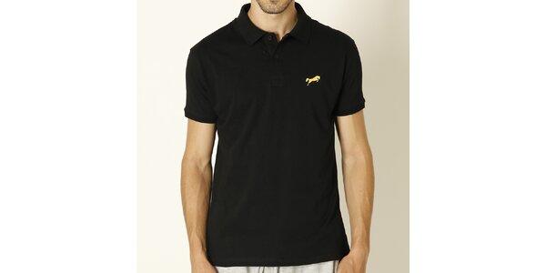 Pánske čierne polo tričko so žltým logom Chaser