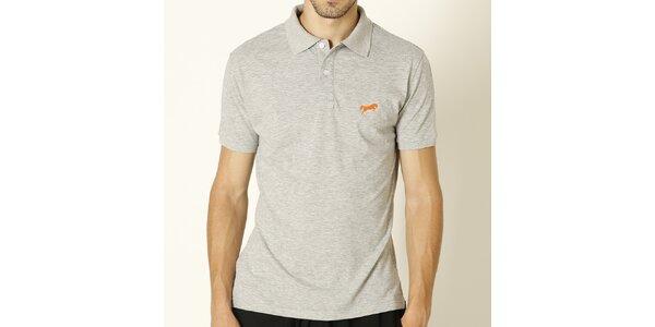 Pánske svetlo šedé polo tričko s oranžovým logom Chaser