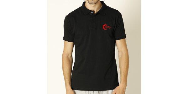 Pánske čierne polo tričko s červenou výšivkou Chaser