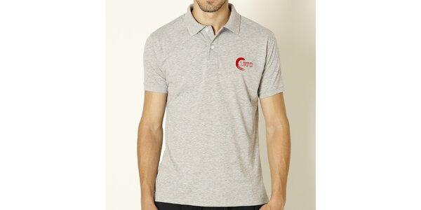 Pánske svetlo šedé polo tričko s červenou výšivkou Chaser