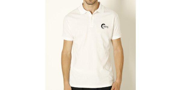 Pánske biele polo tričko s čiernou výšivkou Chaser