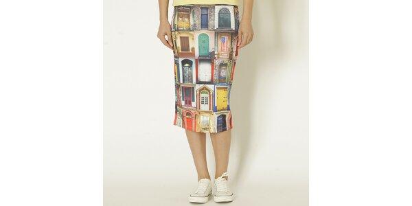 Dámska farebná sukňa s potlačou dverí Chaser