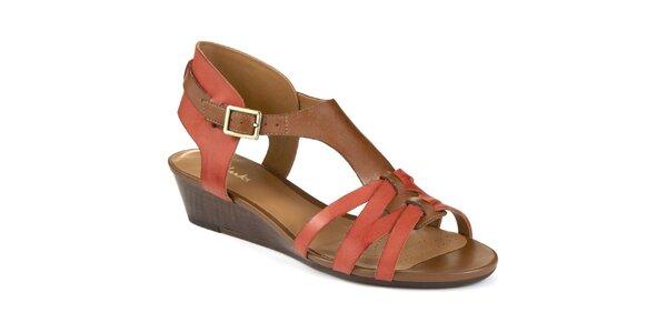 Dámske kožené oranžovo-hnedé sandálky Clarks