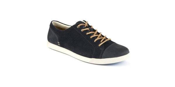 Pánske tmavo modré šnurovacie topánky s koženou šnúrkou Clarks