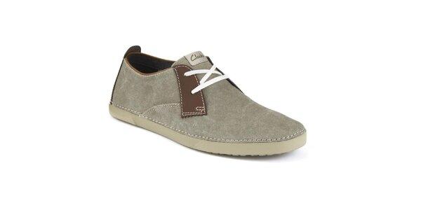 Pánske šedé semišové topánky Clarks