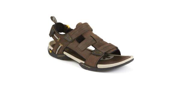 Pánske hnedé kožené sandále Clarks